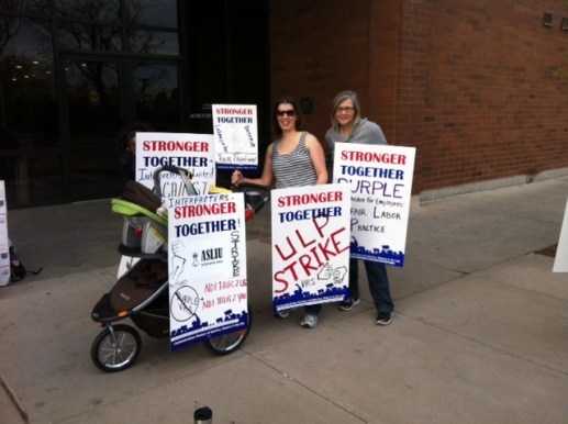 ASLIU members in Denver make the ULP strike a family affair. Photo courtesy CWA staff 2014.