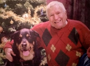 Albert Morch and his beloved rottweiler, Zee Zee in 2002 .  Photo courtesy Melissa Morch.