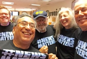 News matters most -- according to JK Dineen , Mike Cabanatuan, Carl Nolte, Leah Garchik and Steve Rubenstein -- when you get a free T-shirt.