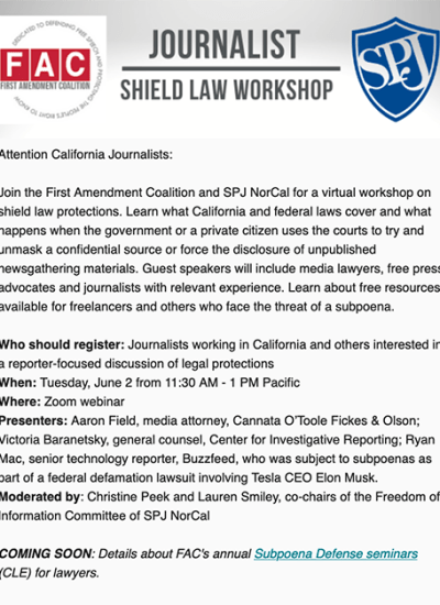 Shield Law Workshop June 2: California