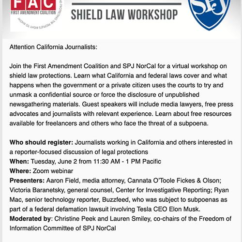 Shield Law Workshop June 2: California