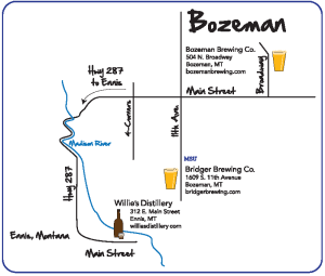 Gallatin County breweries map illustration for Bozeman Area Chamber of Commerce