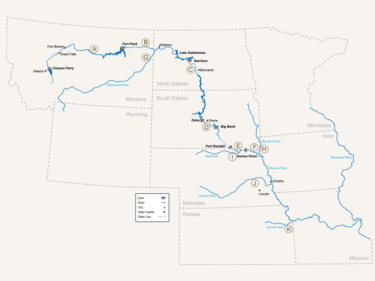 Map Illustration And Design For Missouri River Pallid Sturgeon - Missouri river map