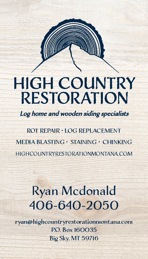 High Country Restoration Business Card Design for Big Sky Business front_Page_1