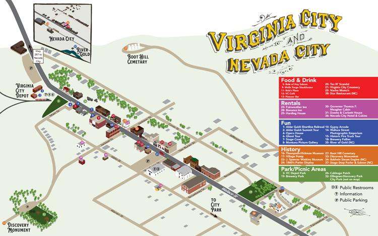 Isometric Map Illustration for Virginia City Montana