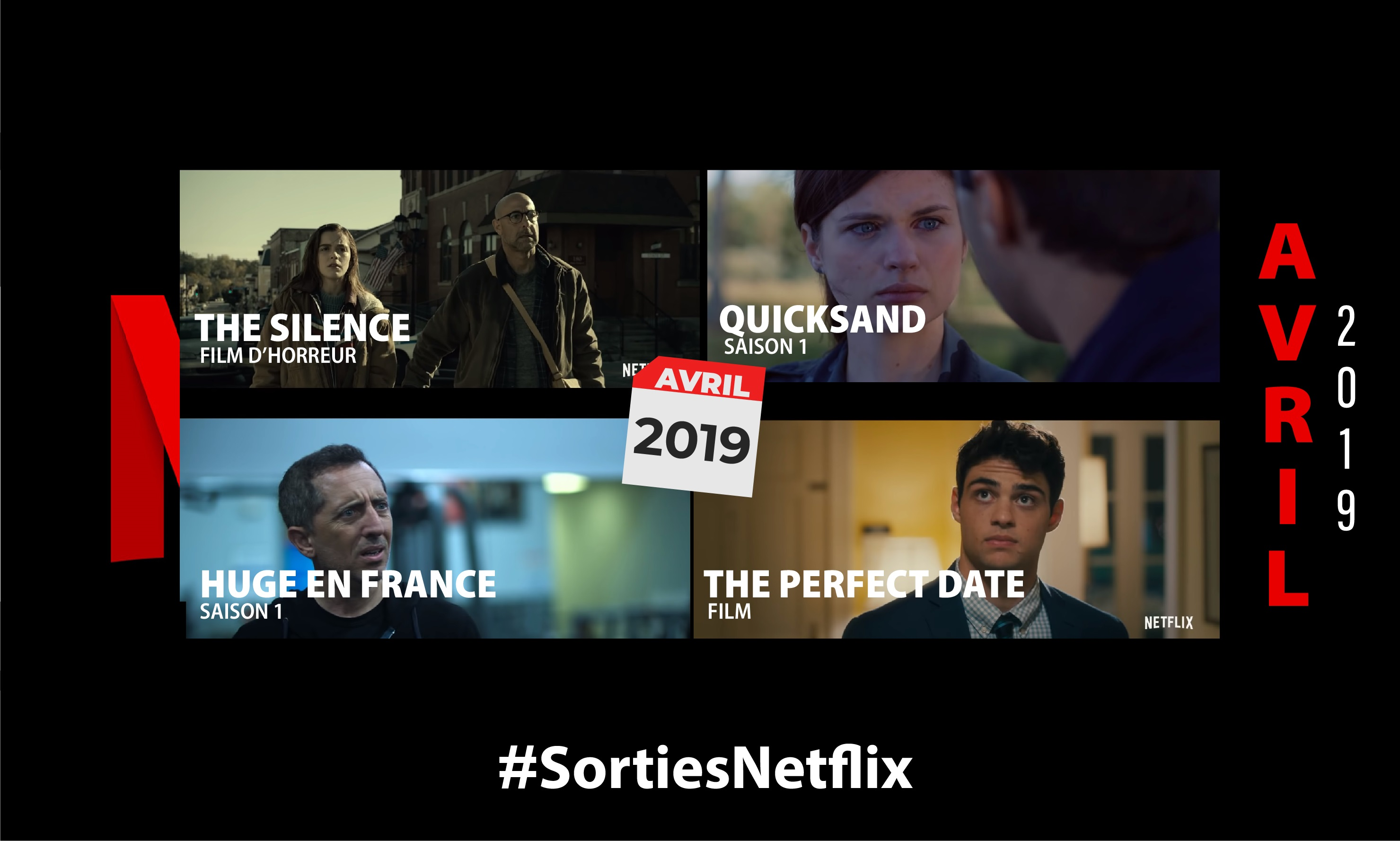 Que regarder sur Netflix en avril 2019 en terme de séries, film, documentaires ? Voici le programme ! Retirer un terme : Netflix NetflixRetirer un terme : séries sériesRetirer un terme : films filmsRetirer un terme : documentaires documentairesRetirer un terme : spectacles spectaclesRetirer un terme : streaming streamingRetirer un terme : nouveautés netflix nouveautés netflixRetirer un terme : series netflix series netflixRetirer un terme : Les nouvelles aventures de Sabrina Les nouvelles aventures de SabrinaRetirer un terme : Huge en France Huge en FranceRetirer un terme : Lucifer LuciferRetirer un terme : Chambers ChambersRetirer un terme : Tom Ellis Tom EllisRetirer un terme : The Perfect Date The Perfect Date