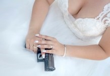 Woman with gun, suicide