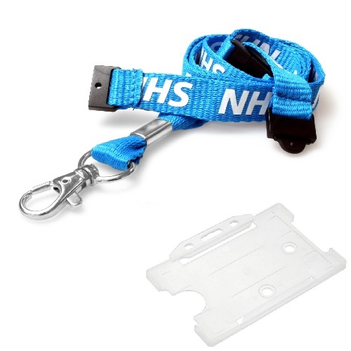 NHS Lanyard (Double Breakaway) with Clear Landscape Card Holder