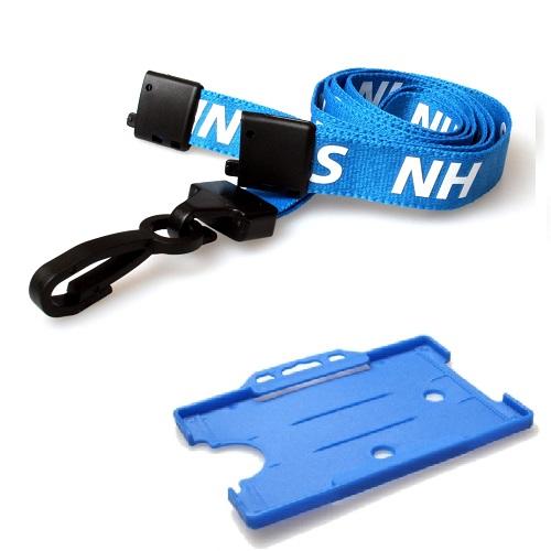 NHS Lanyard (J-Clip) with Light Blue Landscape Card Holder