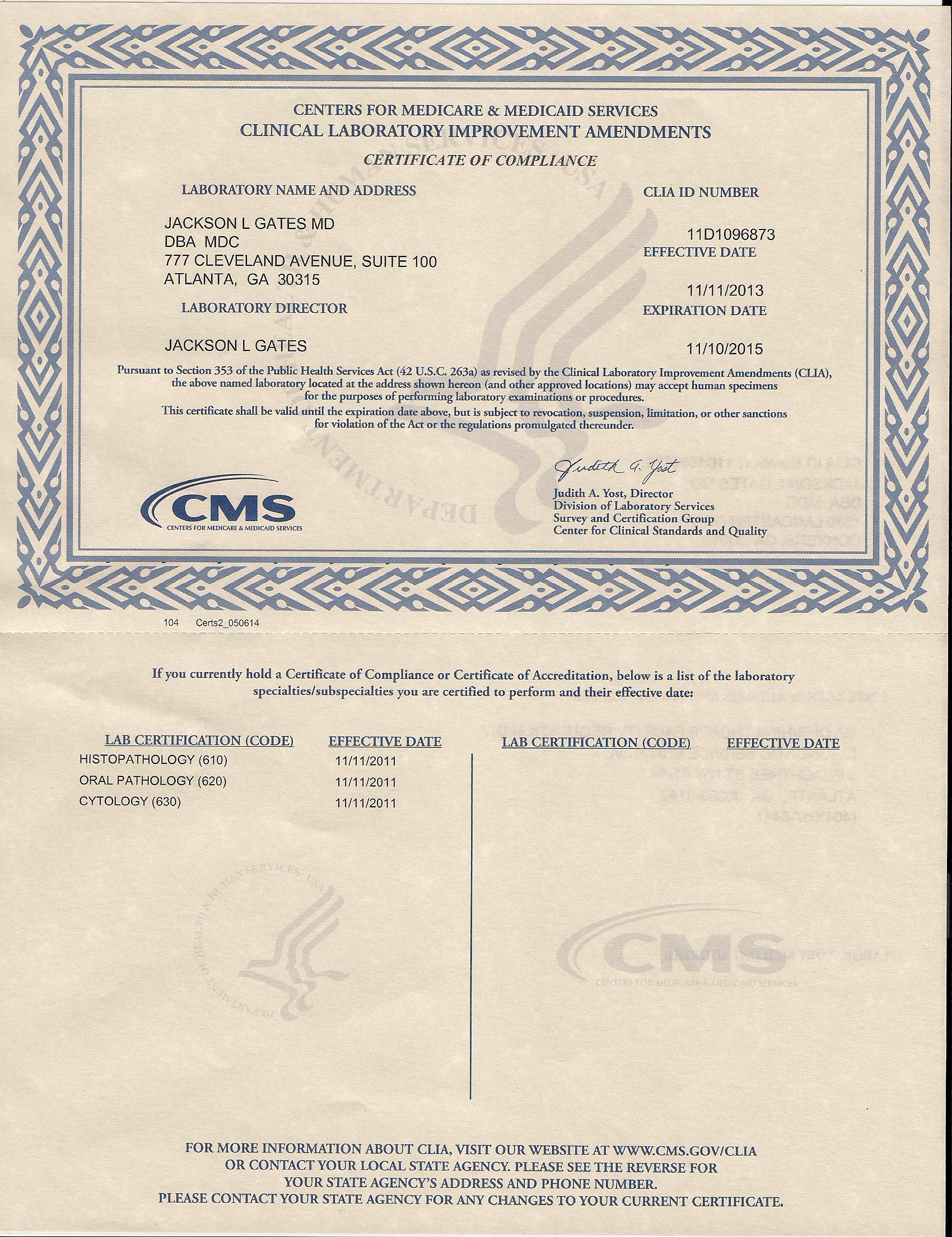 clia certificate compliance mdc medical atlanta updated diagnostic current laboratory gates dr choices
