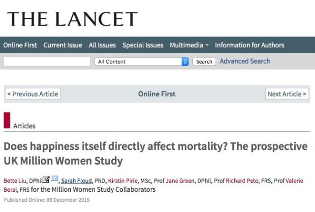 Liu, Bette; Floud, Sarah; Pirie, Kirstin; Green, Jane; Peto, Richard et al. Does happiness itself directly affect mortality? The prospective UK Million Women Study // The Lancet - 2015