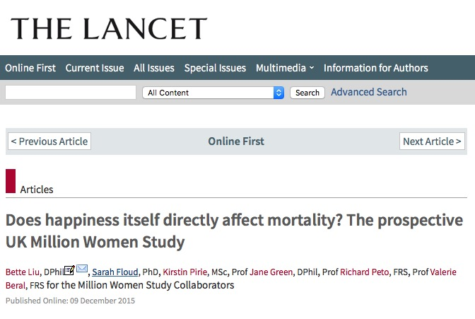 Liu, Bette; Floud, Sarah; Pirie, Kirstin; Green, Jane; Peto, Richard et al. Does happiness itself directly affect mortality? The prospective UK Million Women Study // The Lancet - 2015