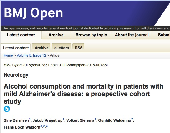 Sine Berntsen et al. Alcohol consumption and mortality in patients with mild Alzheimer's disease: a prospective cohort study // BMJ Open - 2015