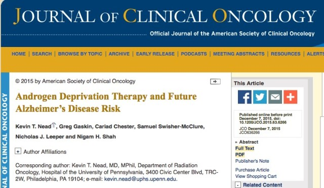 Nead K. T. et al. Androgen Deprivation Therapy and Future Alzheimer's Disease Risk //Journal of Clinical Oncology. – 2015. – С. JCO636266.