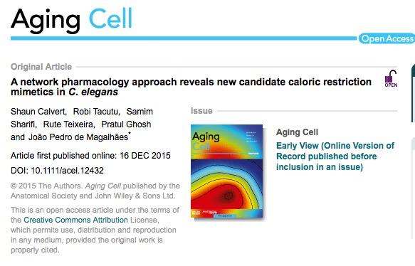 Calvert, Shaun; Tacutu, Robi; Sharifi, Samim; Teixeira, Rute; Ghosh, Pratul et al. (2015) A network pharmacology approach reveals new candidate caloric restriction mimetics in C. elegant // Aging Cell