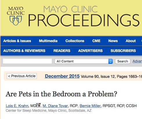Lois Krahn et al. Are pets in the bedroom a problem? // Mayo Clinic Proceedings - 2015.