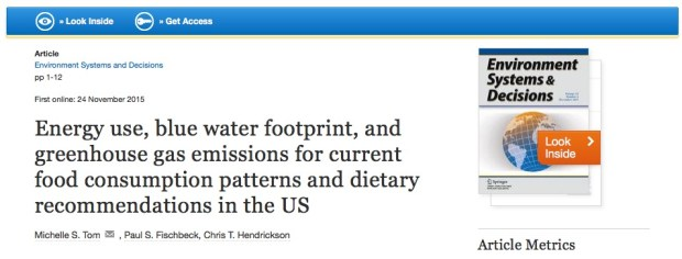 Tom M. S., Fischbeck P. S., Hendrickson C. T. Energy use, blue water footprint, and greenhouse gas emissions for current food consumption patterns and dietary recommendations in the US //Environment Systems and Decisions. – 2015. – С. 1-12.