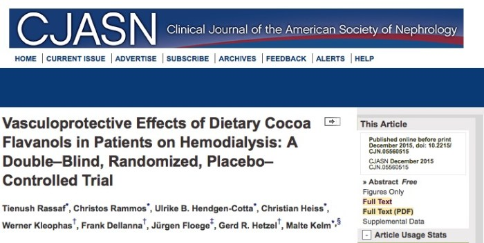 Rammos C. et al. Vasculoprotective effects of dietary flavanols in hemodialysis patients: a double-blind, randomized, placebo-controlled trial //Clinical Journal of the American Society of Nephrology, 2015. – Т. 36. – С. 355-356.