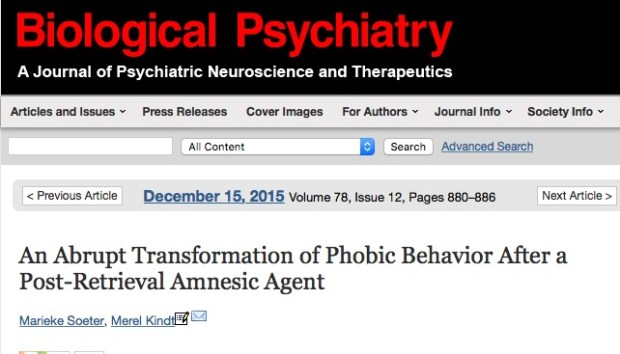Soeter M., Kindt M. An Abrupt Transformation of Phobic Behavior After a Post-Retrieval Amnesic Agent //Biological psychiatry. – 2015.