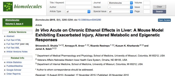 Shukla S. D. et al. In Vivo Acute on Chronic Ethanol Effects in Liver: A Mouse Model Exhibiting Exacerbated Injury, Altered Metabolic and Epigenetic Responses //Biomolecules. – 2015. – Т. 5. – №. 4. – С. 3280-3294.