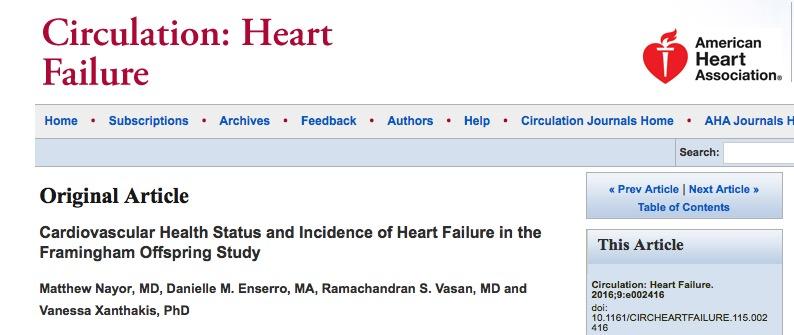 Matthew Nayor et al. Cardiovascular health status and incidence of heart failure in the Framingham offspring study // Circulation: Heart Failure - 2015.
