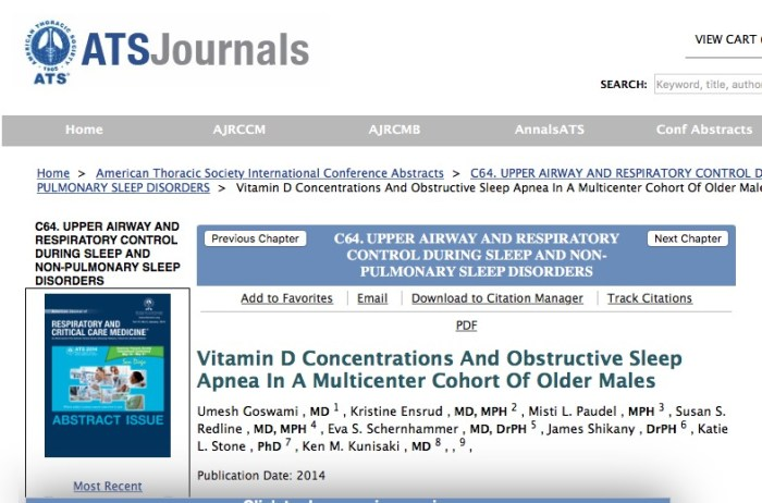 Ensrud K. et al. Vitamin D Concentrations And Obstructive Sleep Apnea In A Multicenter Cohort Of Older Males //University of Minnesota, Minneapolis. – Т. 1. – №. 2. – С. 3.