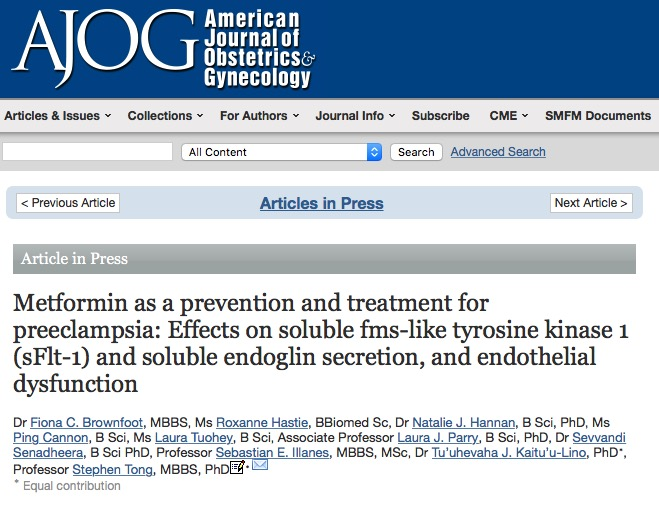 Brownfoot F. C. et al. Metformin as a prevention and treatment for preeclampsia: Effects on soluble fms-like tyrosine kinase 1 (sFlt-1) and soluble endoglin secretion, and endothelial dysfunction //American Journal of Obstetrics and Gynecology. – 2015.