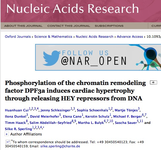 Cui H. et al. Phosphorylation of the chromatin remodeling factor DPF3a induces cardiac hypertrophy through releasing HEY repressors from DNA //Nucleic Acids Research. – 2015. – С. gkv1244