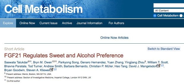 Talukdar, Saswata; Owen, Bryn M.; Song, Parkyong; Hernandez, Genaro; Zhang, Yuan et al. (2015) FGF21 Regulates Sweet and Alcohol Preference // Cell Metabolism
