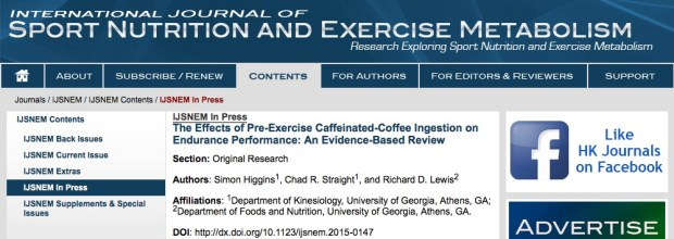 Higgins S., Straight C. R., Lewis R. D. The Effects of Pre-Exercise Caffeinated-Coffee Ingestion on Endurance Performance: An Evidence-Based Review //International journal of sport nutrition and exercise metabolism. – 2015.
