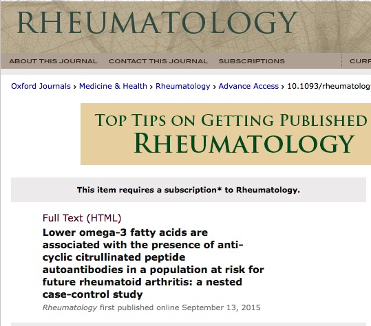 Gan R. W. et al. Lower omega-3 fatty acids are associated with the presence of anti-cyclic citrullinated peptide autoantibodies in a population at risk for future rheumatoid arthritis: a nested case-control study //Rheumatology. – 2015. – С. kev266