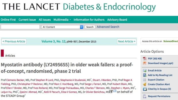 Becker C. et al. Myostatin antibody (LY2495655) in older weak fallers: a proof-of-concept, randomised, phase 2 trial //The Lancet Diabetes & Endocrinology. – 2015. – Т. 3. – №. 12. – С. 948-957.