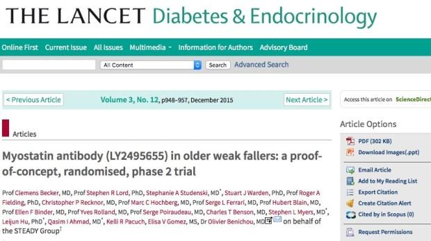 Becker C. et al. Myostatin antibody (LY2495655) in older weak fallers: a proof-of-concept, randomised, phase 2 trial //The Lancet Diabetes & Endocrinology. – 2015. – Т. 3. – №. 12. – С. 948-957.