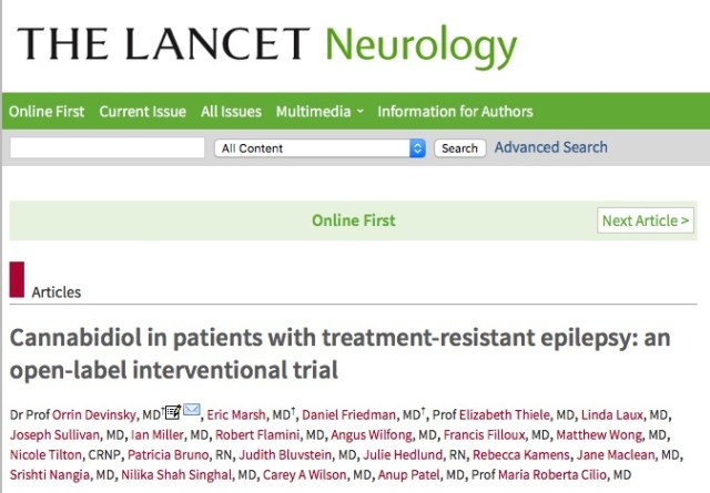 Devinsky O. et al. Cannabidiol in patients with treatment-resistant epilepsy: an open-label interventional trial //The Lancet Neurology. – 2015.