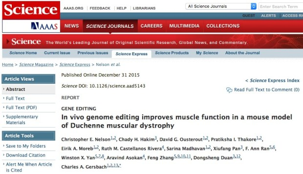 Nelson C. E. et al. In vivo genome editing improves muscle function in a mouse model of Duchenne muscular dystrophy //Science. – 2015. – С. aad5143.