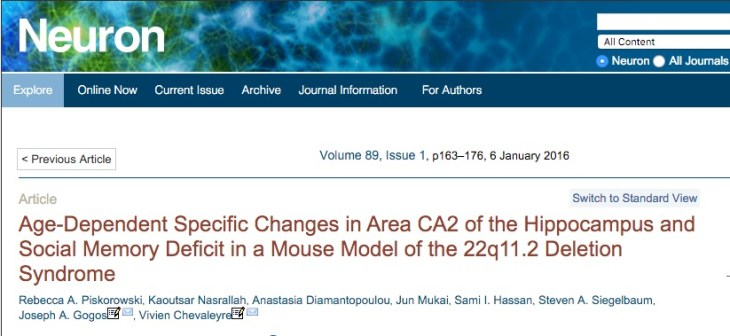 Piskorowski, Rebecca A.; Nasrallah, Kaoutsar; Diamantopoulou, Anastasia; Mukai, Jun; Hassan, Sami I. et al. (2016) Age-Dependent Specific Changes in Area CA2 of the Hippocampus and Social Memory Deficit in a Mouse Model of the 22q11.2 Deletion Syndrome // Neuron - vol. 89 (1) - p. 163-176