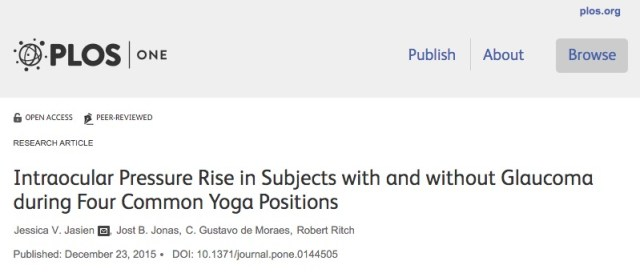 Jasien J. V. et al. Intraocular Pressure Rise in Subjects with and without Glaucoma during Four Common Yoga Positions //PloS one. – 2015. – Т. 10. – №. 12.