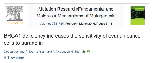 Oommen D., Yiannakis D., Jha A. N. BRCA1 deficiency increases the sensitivity of ovarian cancer cells to auranofin //Mutation Research/Fundamental and Molecular Mechanisms of Mutagenesis. – 2015.