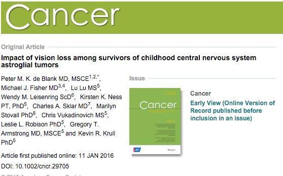 de Blank, Peter M K; Fisher, Michael J; Lu, Lu; Leisenring, Wendy M; Ness, Kirsten K et al. (2016) Impact of vision loss among survivors of childhood central nervous system astroglial tumors. // Cancer