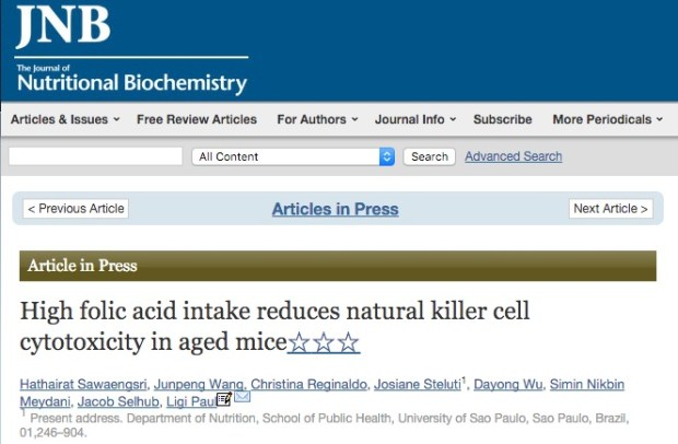 Sawaengsri H. et al. High folic acid intake reduces natural killer cell cytotoxicity in aged mice //The Journal of Nutritional Biochemistry. – 2016.