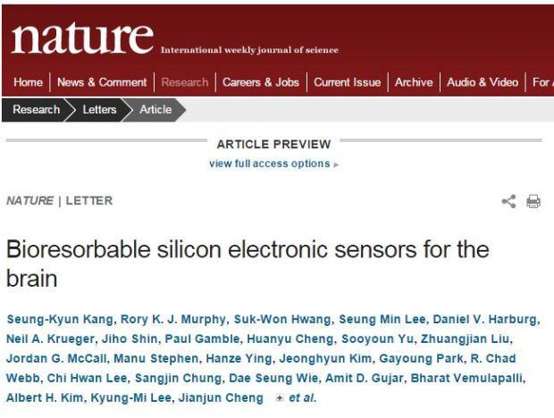 Rory K. J. Murphy, et al. Bioresorbable silicon electronic sensors for the brain // Nature - 2016.