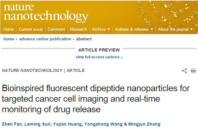Fan Z. et al. Bioinspired fluorescent dipeptide nanoparticles for targeted cancer cell imaging and real-time monitoring of drug release //Nature nanotechnology. – 2016.