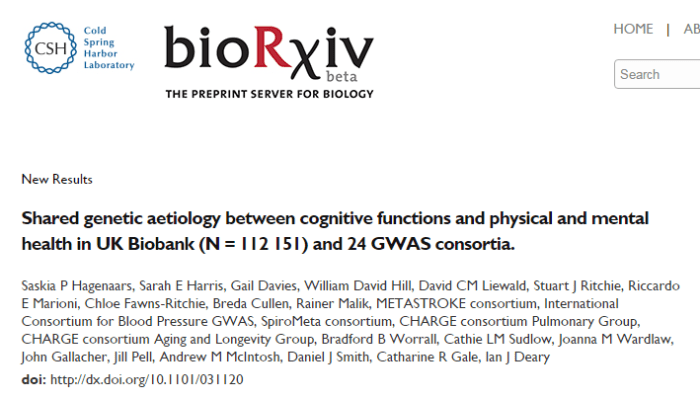 Shared genetic aetiology between cognitive functions and physical and mental health in UK Biobank (N= 112 151) and 24 GWAS consortia ©