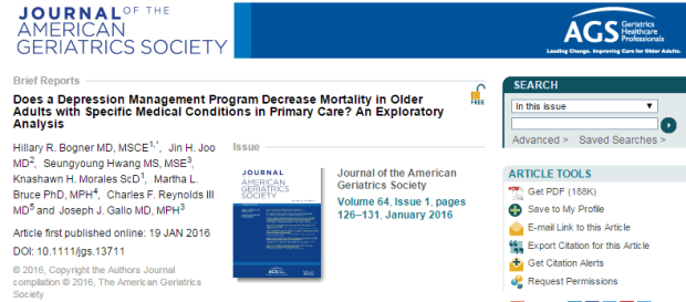 Does a Depression Management Program Decrease Mortality in Older Adults with Specific Medical Conditions in Primary Care? An Exploratory Analysis © The American Geriatrics Society