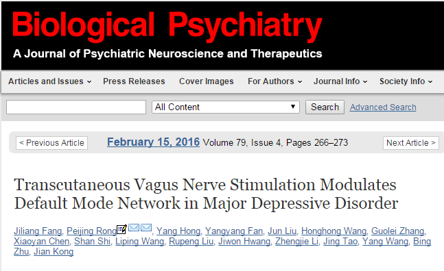 Transcutaneous vagus nerve stimulation modulates default mode network in major depressive disorder