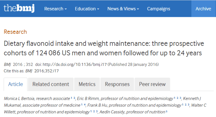 Dietary flavonoid intake and weight maintenance: three prospective cohorts of 124 086 US men and women followed for up to 24 years ©BMJ