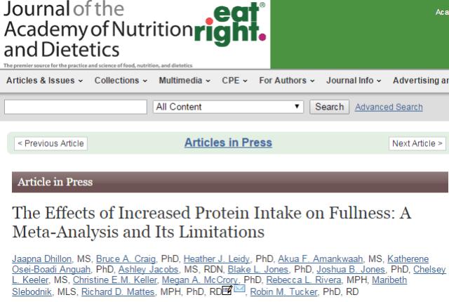 белковая диета, голод, Journal of the Academy of Nutrition and Dietetics