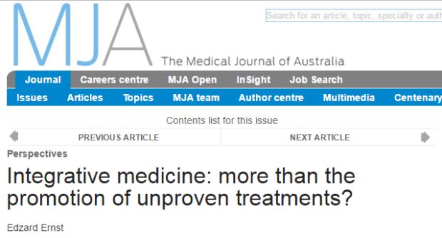 интегративная медицина, Medical Journal of Australia