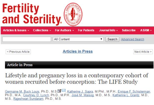 витамины, выкидыш, Fertility and Sterility
