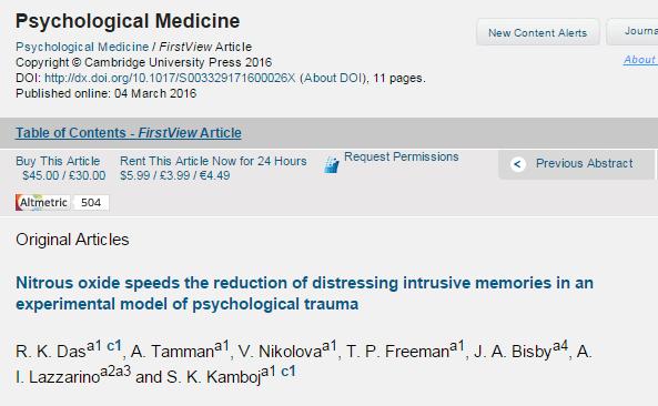 ПТСР, закись азота, травма, Psychological Medicine